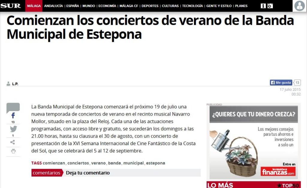 Comienzan los conciertos de verano de la Banda Municipal de Estepona