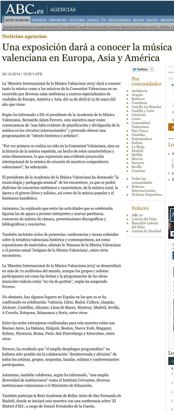 Una exposición dará a conocer la música valenciana